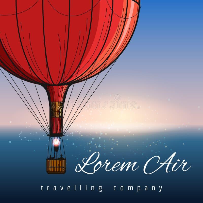 Hete luchtballons die bedrijfaffiche reizen royalty-vrije illustratie