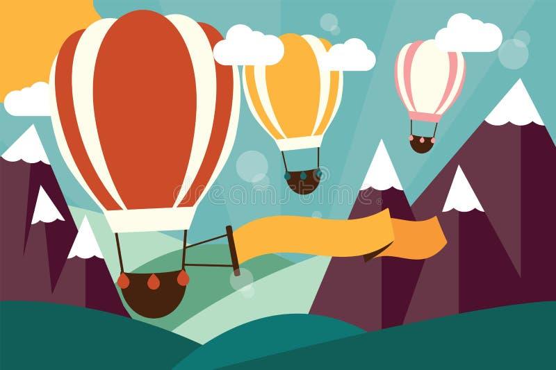 Hete luchtballons die over bergen met banner vliegen royalty-vrije illustratie