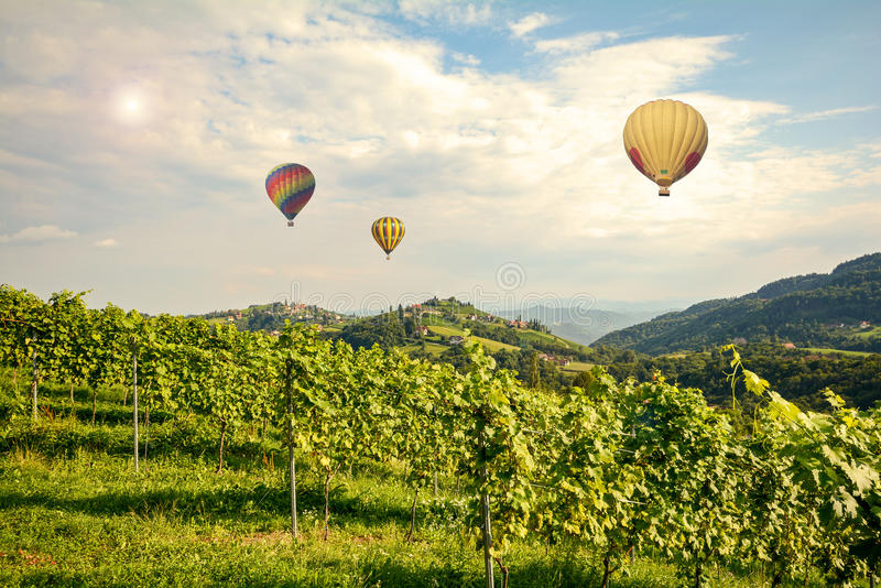 Hete luchtballons die over de wijngaarden langs de Wijnweg van Zuidenstyrian vliegen, Oostenrijk stock foto
