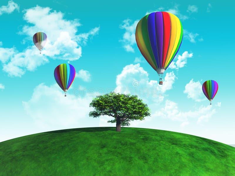 Hete luchtballons met boom op grasrijke bol vector illustratie