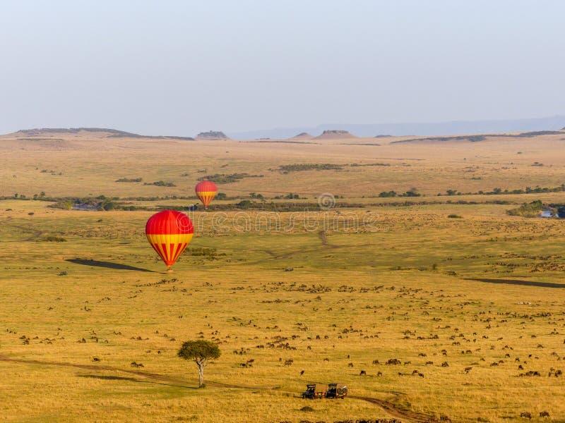 Hete luchtballons over Maasai Mara royalty-vrije stock foto's