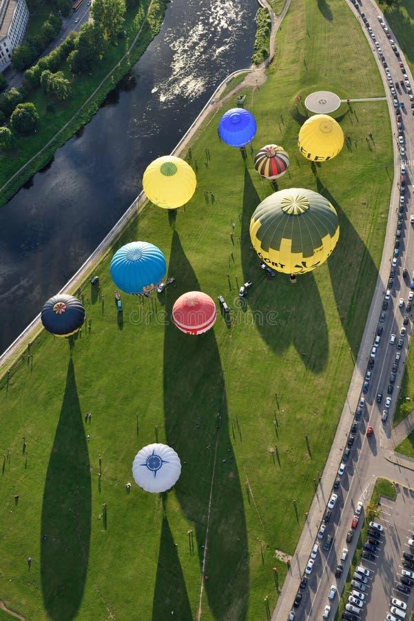 Hete luchtballons in Vilnius royalty-vrije stock foto's
