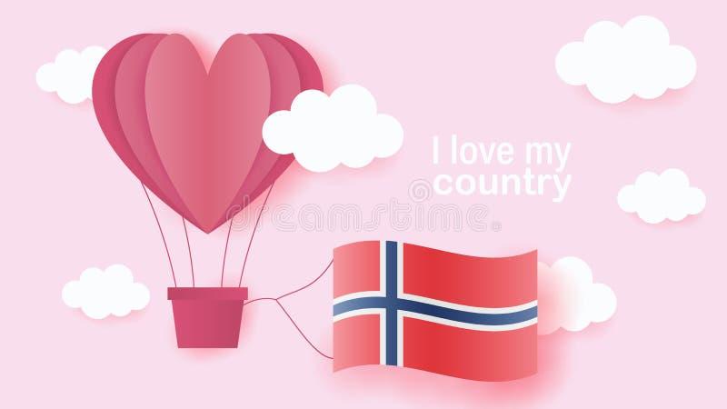 Hete luchtballons in vorm van hart die in wolken met nationale vlag van Noorwegen vliegen Document kunst en besnoeiing, origamist vector illustratie