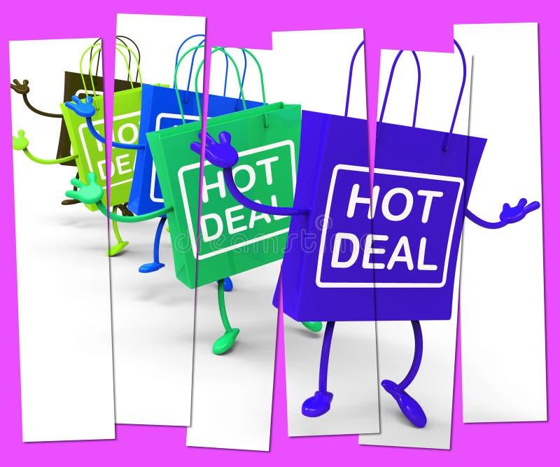 Hete Overeenkomst het Winkelen Zak die Verkoop, Koopjes, en Overeenkomsten toont royalty-vrije illustratie