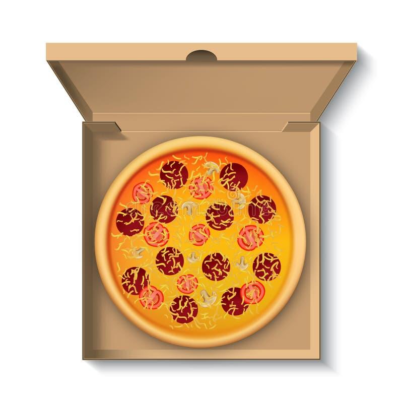 Hete pizza in kartondoos, hoogste mening vector illustratie