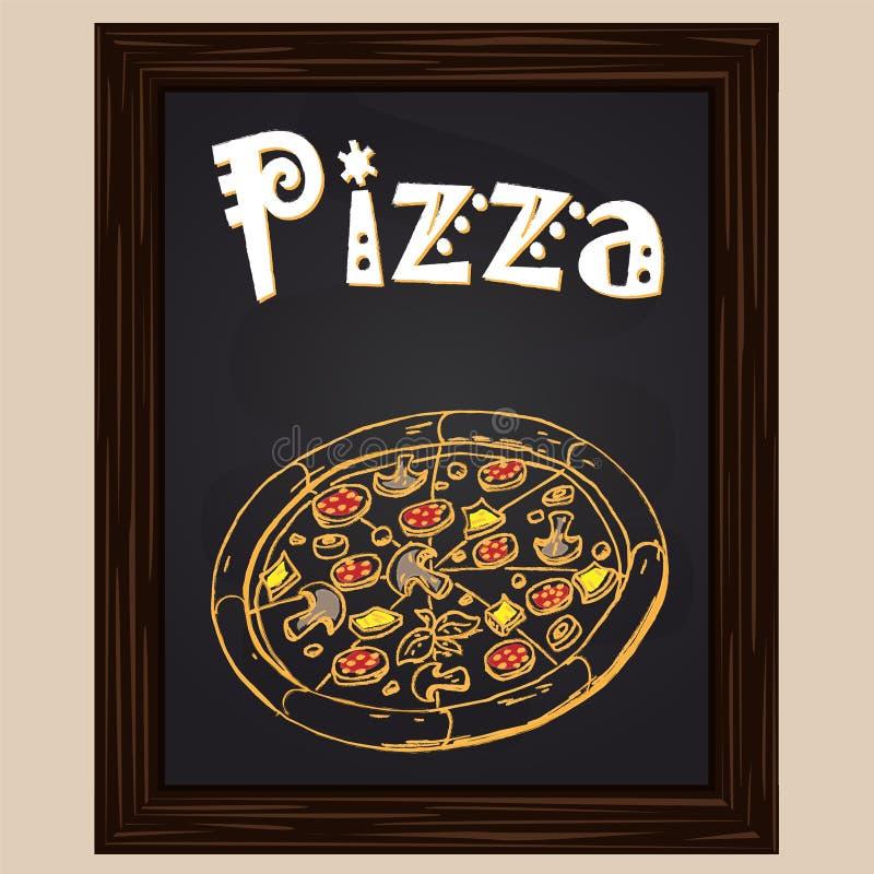 Hete pizza met salami vector illustratie