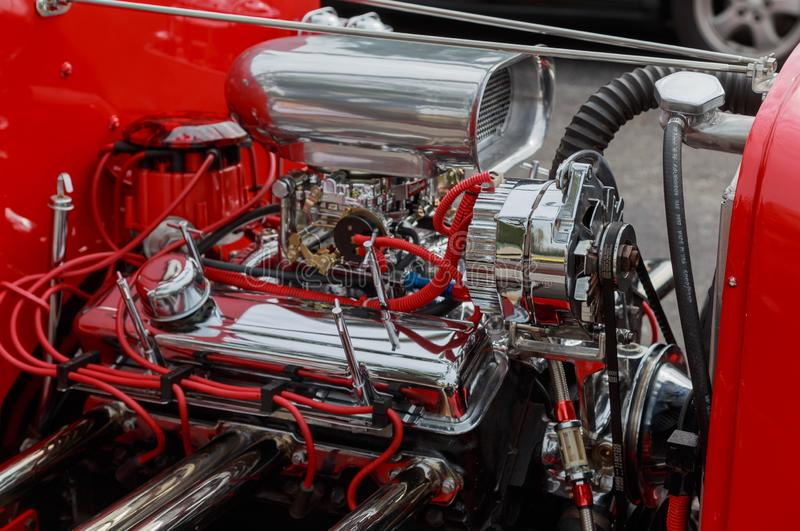 Hete Rod Chromed Small Block Chevy-Motor royalty-vrije stock fotografie