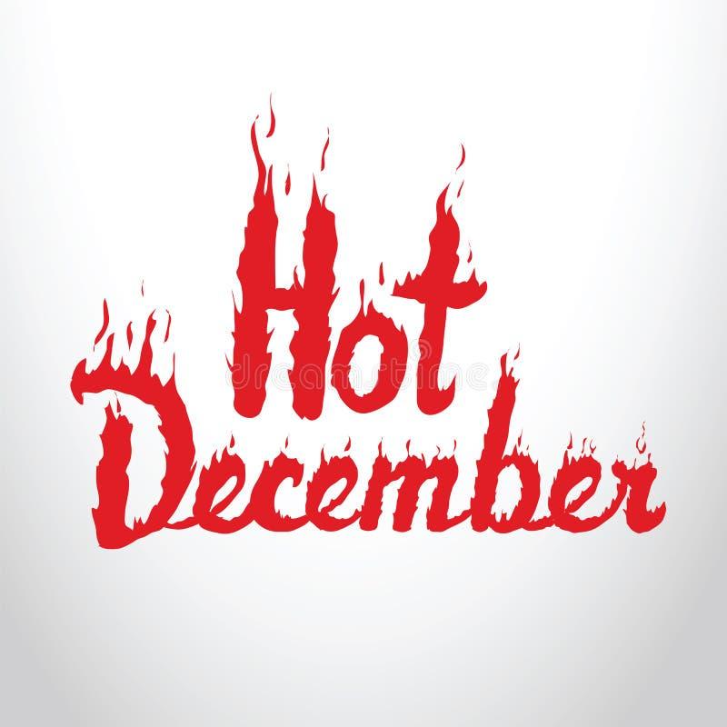 Hete rode het branden van December inschrijving op witte achtergrond Concep stock foto's