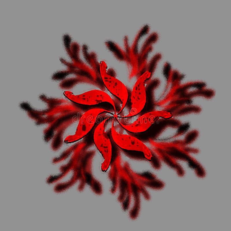 hete rode korrelige bloemillustratie stock fotografie