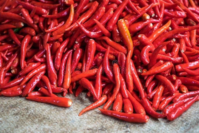 Hete Spaanse pepers in Thaise Markt royalty-vrije stock foto
