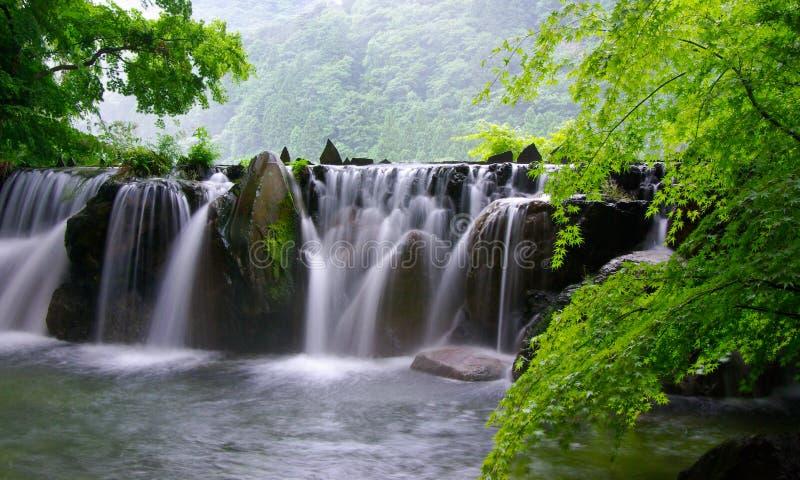 Hete spring waterfall spa royalty-vrije stock fotografie