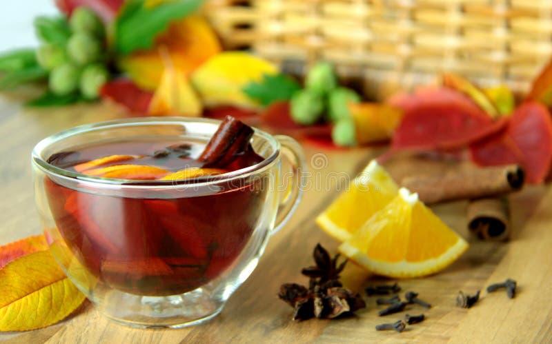 Hete thee met citrusvruchten en kruiden stock afbeeldingen