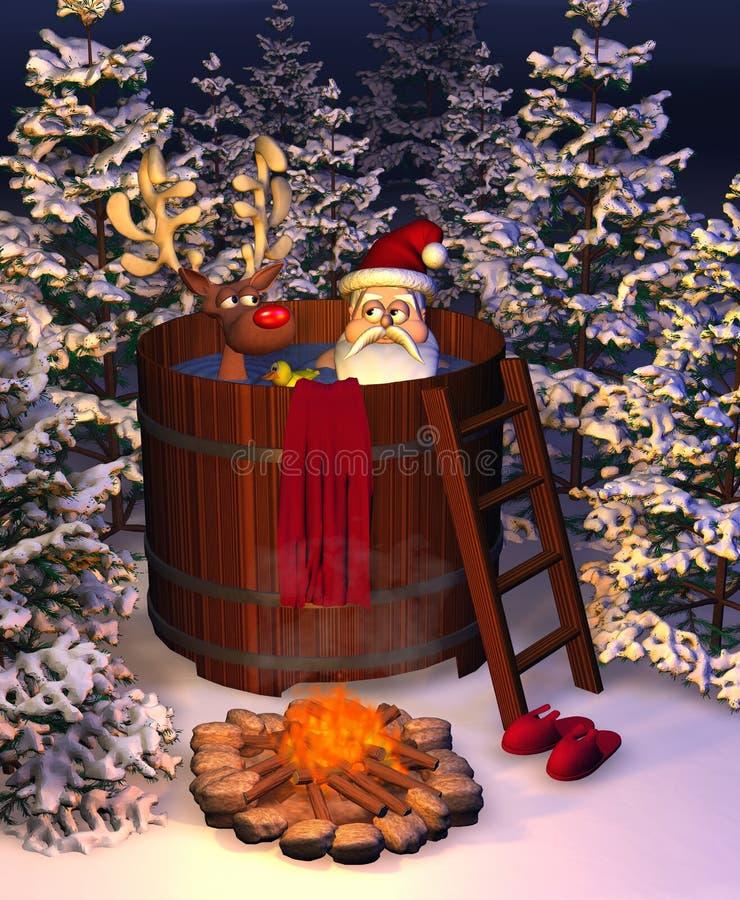 Hete Ton Santa Scene royalty-vrije illustratie