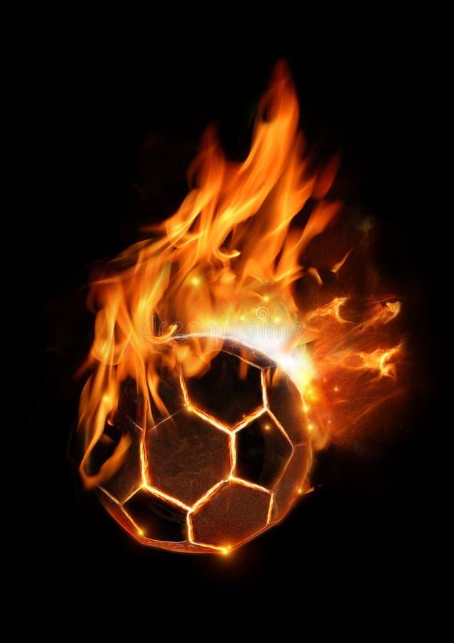 Hete Voetbal op Brand stock illustratie