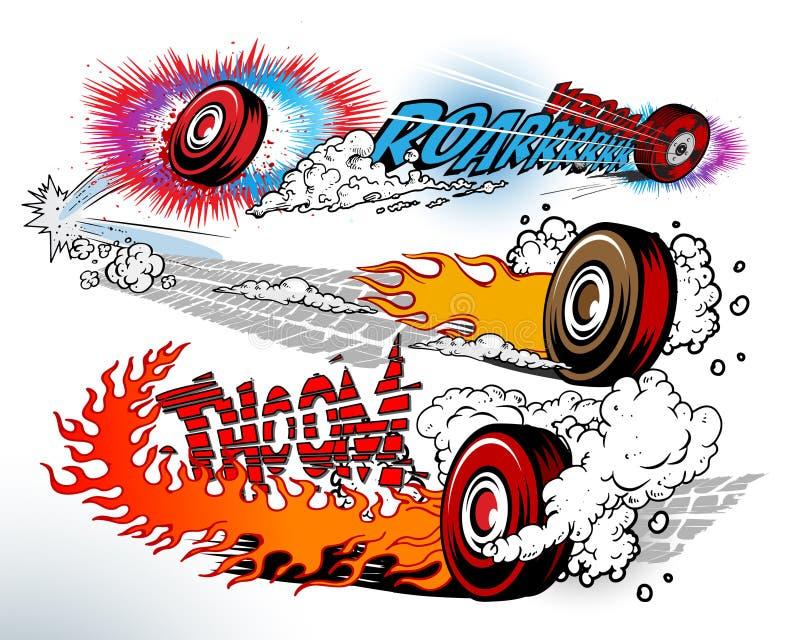 Hete wielen vector illustratie