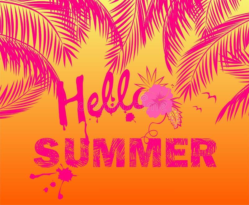 Hete zomerse roze affiche met palmbladen en hello de zomer het van letters voorzien stock illustratie