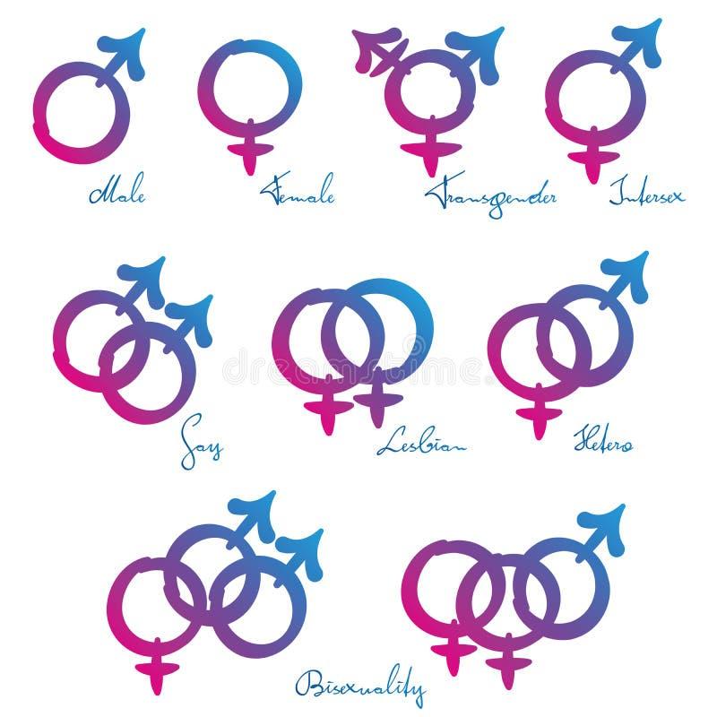 Hetero för lesbisk kvinna för LGBT-symboler glad förälskelse royaltyfri illustrationer