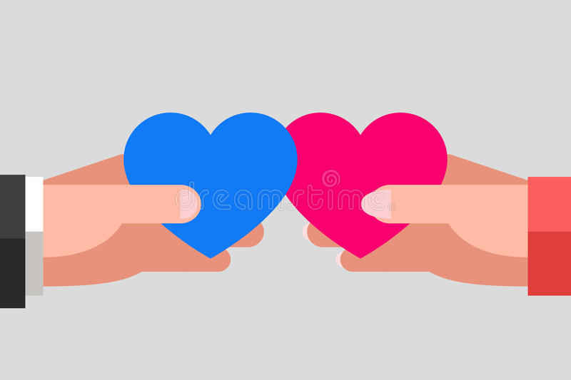 Heterosexual couple in love. Man`s and woman`s hands are keeping blue and pink hearts and tending to one another. Intersection of two hearts. Heterosexual couple vector illustration
