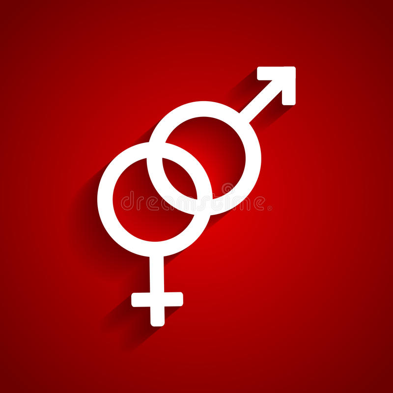 Heterosexual white symbol. On red background vector illustration