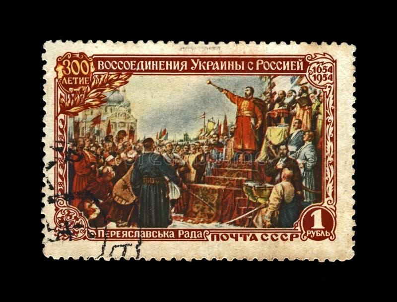Hetman Bogdan Khmelnitsky som proklamerar möte av Ukraina och Ryssland under det Pereyaslav rådet i 1654, USSR, circa 1954 fotografering för bildbyråer