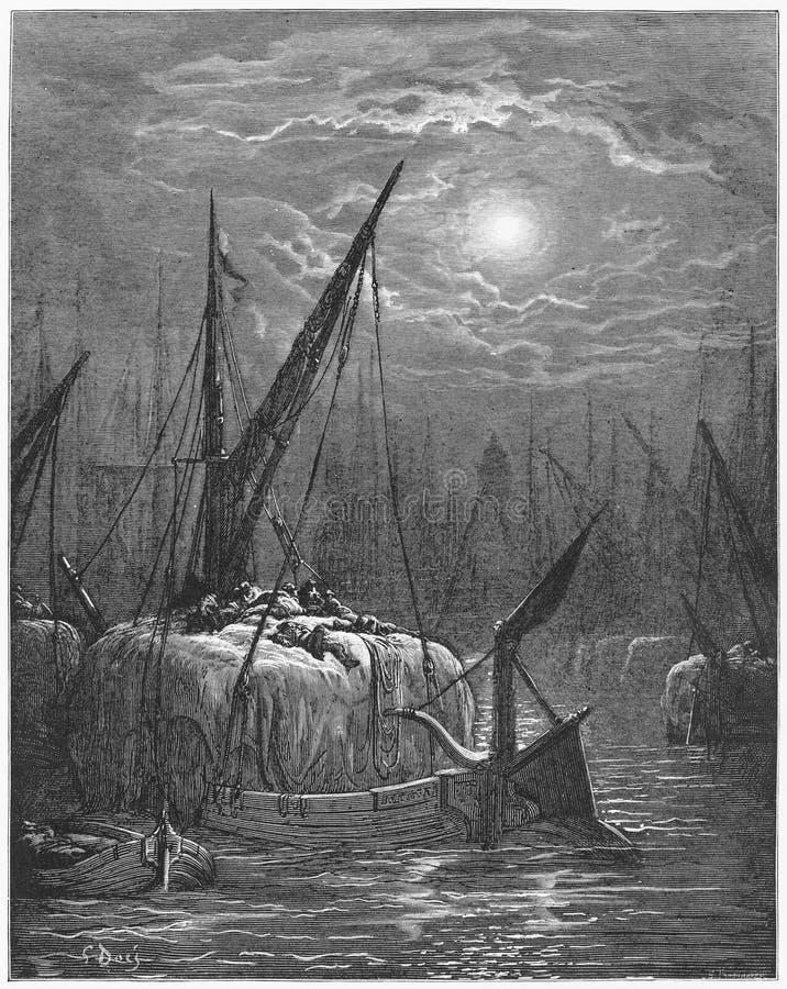 Heuboote auf der Themse lizenzfreie abbildung
