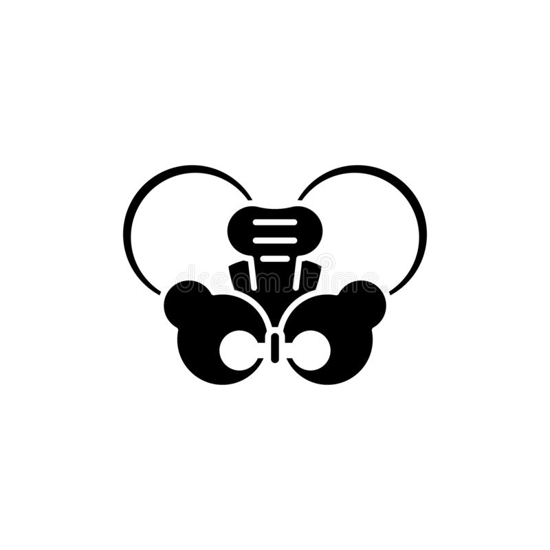 Heup gezamenlijk zwart pictogram, vectorteken op geïsoleerde achtergrond Symbool van het heup het gezamenlijke concept, illustrat stock illustratie