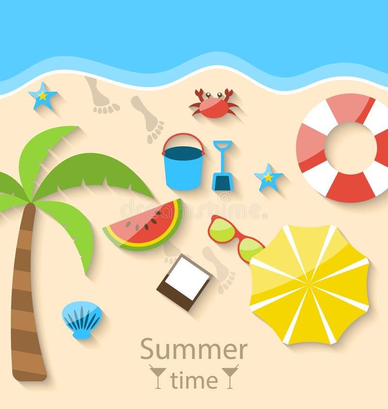 Heure d'été avec les icônes simples colorées réglées d'appartement sur la plage illustration stock
