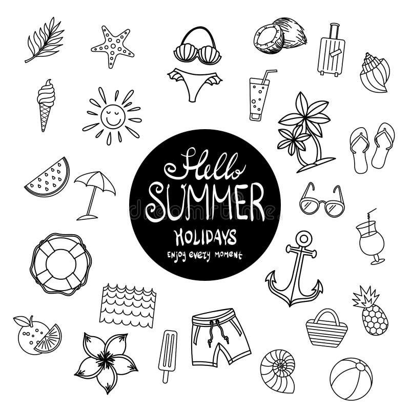 Heure d'été réglée d'éléments de conception d'icône d'été Belle affiche vacances Illustration de vecteur Vacances Art tropical de illustration de vecteur