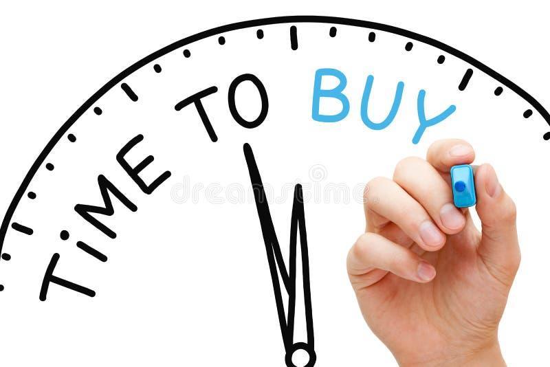 Heure d'acheter le concept d'horloge images libres de droits