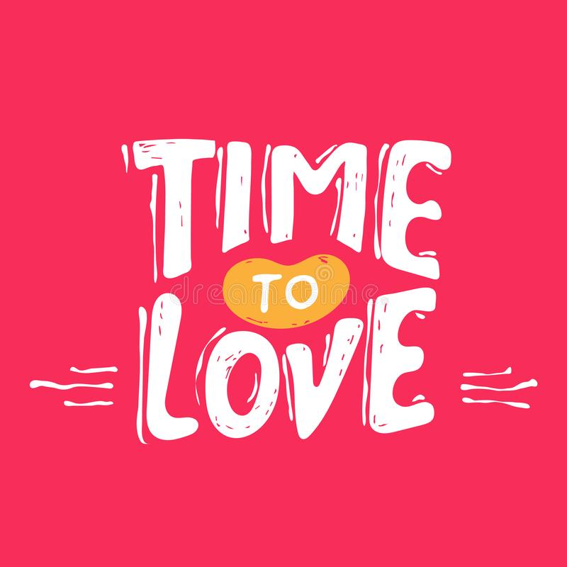 Heure d'aimer lettrage grunge de main de cru avec le coeur pour l'habillement de T-shirt, la copie, l'affiche, le design de carte illustration libre de droits