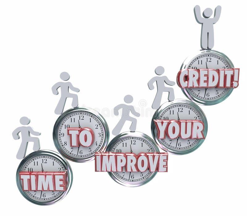 Heure d'améliorer vos emprunteurs de crédit se levant sur le Sc d'horloges mieux illustration libre de droits