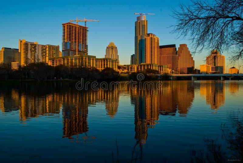 Heure d'or Austin Texas de lueur alpine une ville à appeler à la maison photographie stock libre de droits