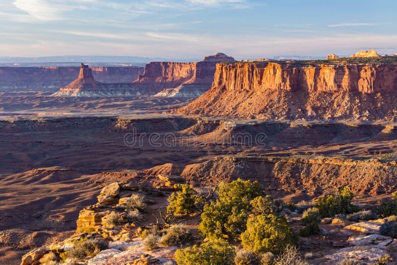 Heure d'or de point de vue grand de Canyonlands photos stock