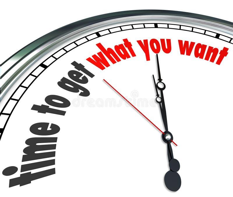 Heure d'obtenir ce qui vous voulez le compte à rebours d'horloge illustration stock