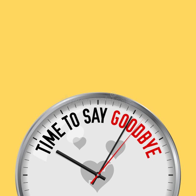 Heure de dire au revoir Horloge blanche de vecteur avec le slogan de motivation Montre analogue en métal avec le verre Icône du c illustration libre de droits
