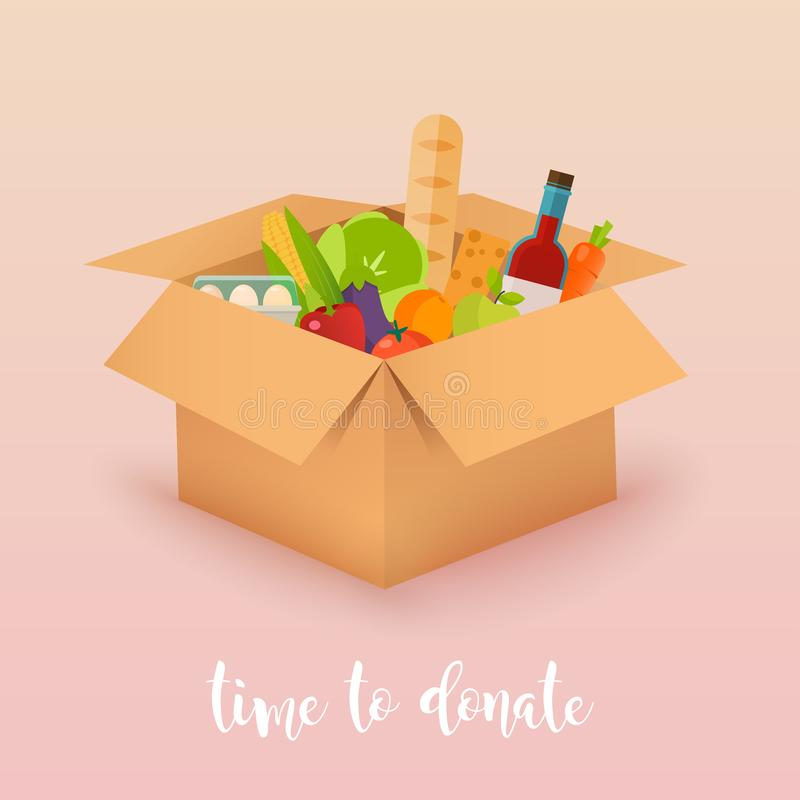 Heure de donner Donation de nourriture Boîtes complètement de nourriture Concept de vecteur illustration libre de droits