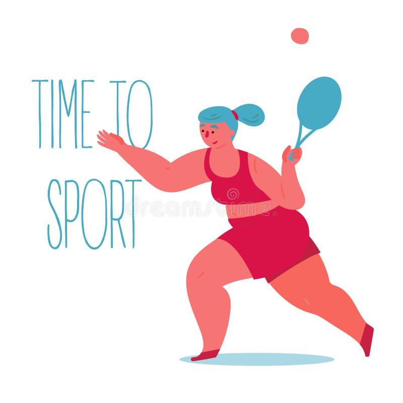 Heure de fol?trer Femme s'exerçant dans le grand tennis illustration libre de droits