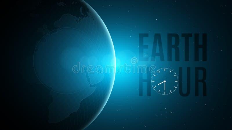 Heure de la terre Concept cosmique La terre futuriste de planète dans l'espace 60 minutes sans électricité Lever de soleil avec u illustration de vecteur