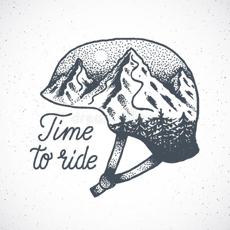Heure de monter le surf des neiges tiré par la main ou le Ski Helmet de vecteur abstrait avec le paysage de montagne dans le styl illustration stock