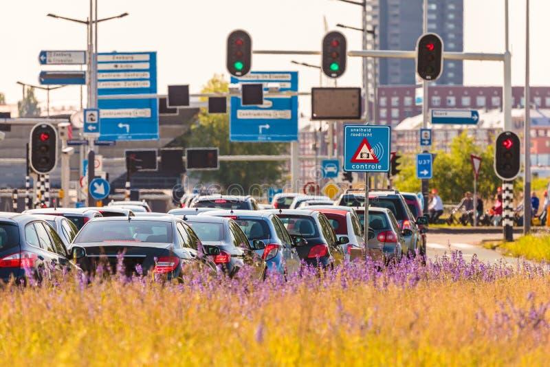Heure de pointe à Amsterdam, Pays-Bas image libre de droits