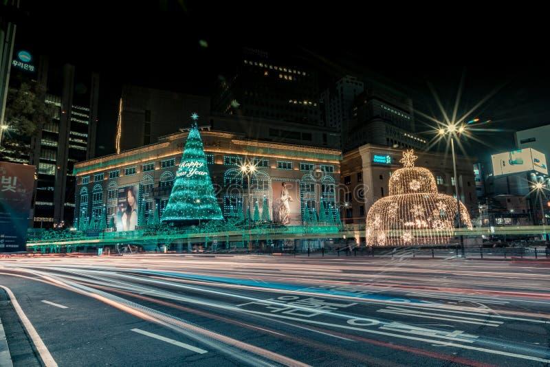 Heure de pointe en dehors de ville hôtel du ` s de Myeongdong image stock