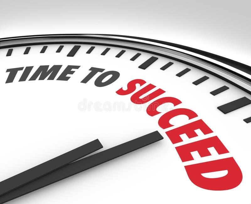 Heure de réussir des mots sur le but réussi d'horloge illustration de vecteur