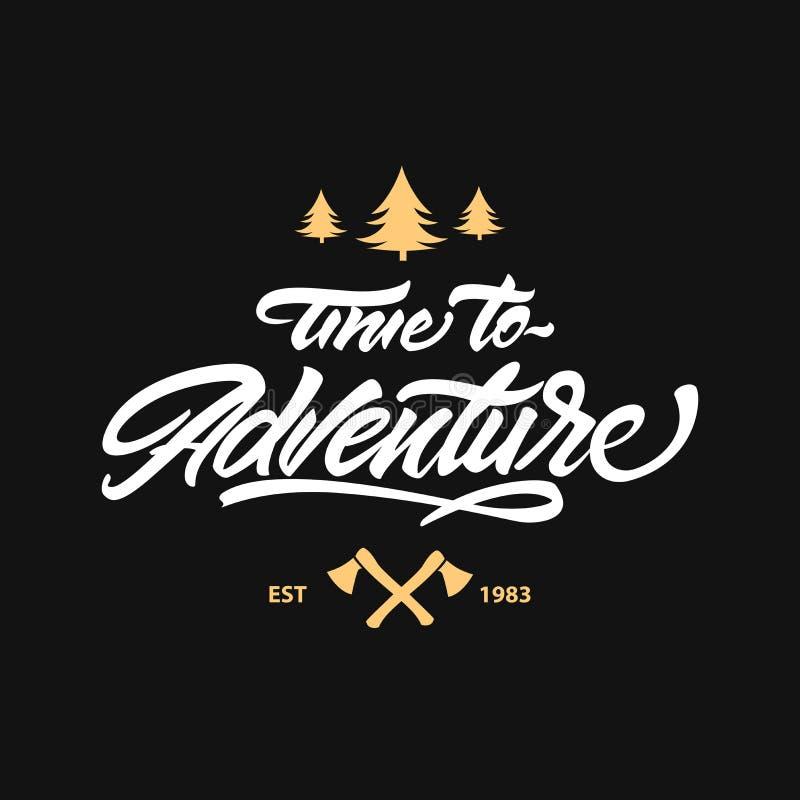 Heure de risquer le logo de lettrage Style de logo de hippie lettrage avec la hache et l'arbre Illustration de vecteur illustration stock