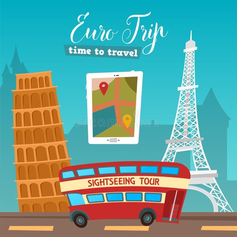 Heure de se déplacer Course en le bus Euro voyage Bannière de voyage illustration libre de droits