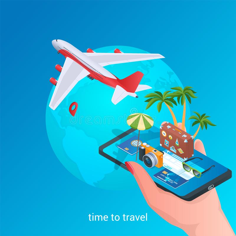 Heure de voyager icônes isométriques 02 illustration stock