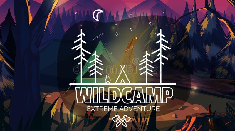 Heure de voyager temps sauvage d'aventure de camping de bannière Dirigez l'illustration, pour votre application, projet illustration libre de droits