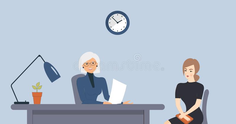 Heure, entrevue, parlant avec un demandeur de travail Le recruteur féminin plus âgé tient une réunion de la société avec la jeune illustration stock
