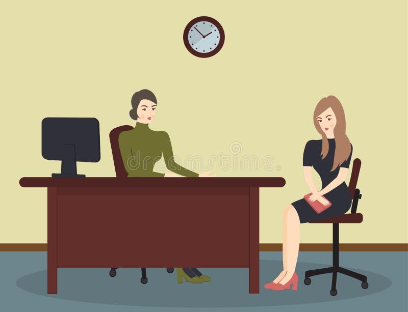 Heure, entrevue, parlant avec un demandeur de travail Le recruteur f?minin tient une r?union de la soci?t? avec la jeune femme en illustration stock
