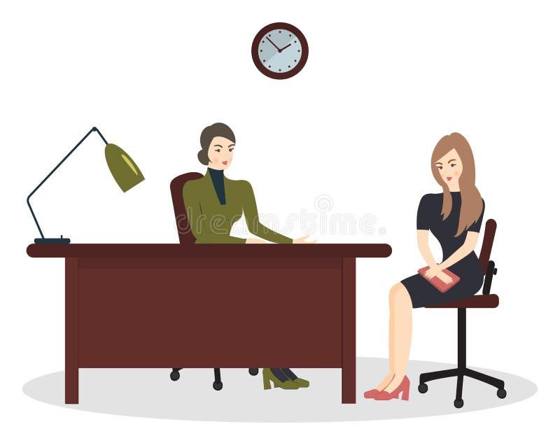 Heure, entrevue, parlant avec un demandeur de travail Le recruteur f?minin tient une r?union de la soci?t? avec la jeune femme en illustration libre de droits