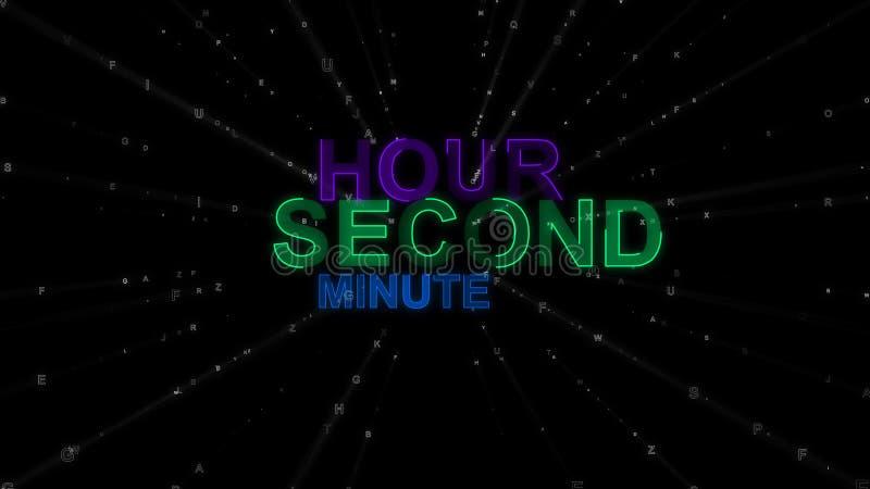 Heure, minute, deuxième comme mots de concept illustration de vecteur